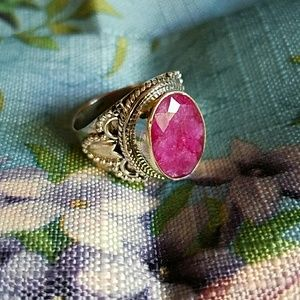 Ruby Ring Sterling Silver NEW
